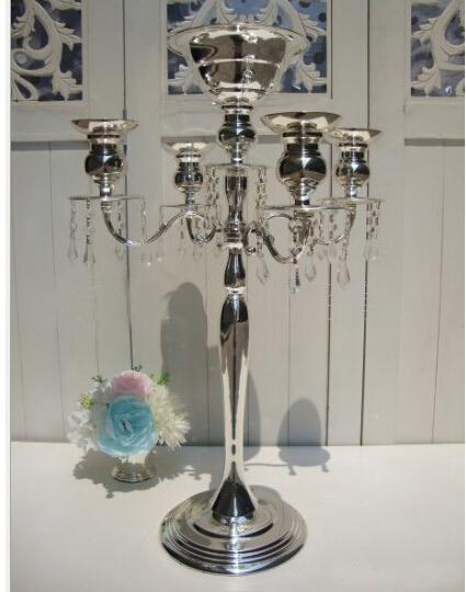 top popular H75cm * W48cm, 5 Heads Crystal Candelabra, Candle Holder, wedding Centerpiece, flower bowl Candle holder with pendants 2021