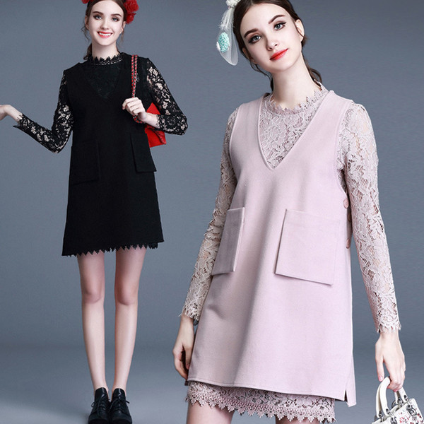 Two Pieces Dresses women clothes fashion bohemian plus size casual bodycon dresses for womens lace bottoming woolen midi dress woman clothes