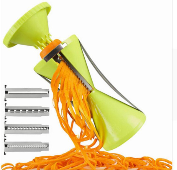 Replaceable Blades Spiral Slicer Fruit and Vegetable Spiralize Carrot Cucumber Grater Cutters With 4 Blades Kitchen Accessories OOA3562