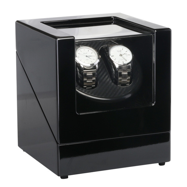 best selling Classical EU 2 Slots Battery Plug Suitable Watch Winder Box Black Wood Paint Rotation Watch Winder Case Motor for Watch Shop Display&Storage