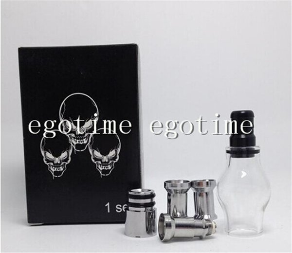 Globe Glass Tank Set Dry Herb Vaporizer Clearomizer Atomizer with Retail Box Two Extra metal Coil Heads for E-Cig eGo Electronic Cigarette