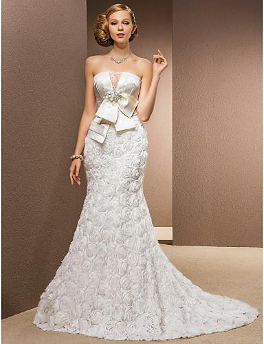 2016 New Hot Sale Fashion Trumpet/Mermaid Ivory Chapel Train Strapless Flowers Chiffon/Satin/Tulle Luxurious Wedding Dresses 303