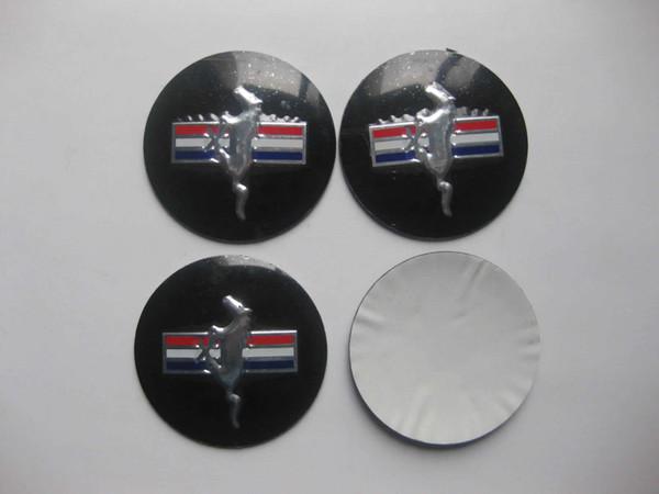 4pcs 55mm Wheel Center Hub Caps Running Horse Emblem Badge Sticker For Mustang