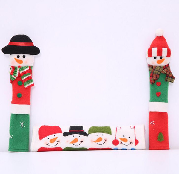 DHL Christmas Decoration Refrigerator Door Fridge Knob Microwave Oven Snowman Kitchen Appliance Handle Covers Set of 3 for Home Ornament
