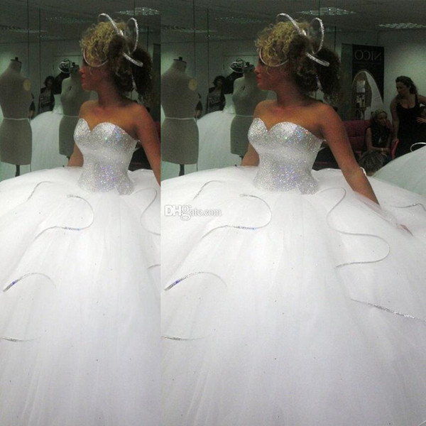 2016 Bling Big Poofy Wedding Dresses Custom Made Plus Size Tulle Ball Gown Beads Crystal Sold Out