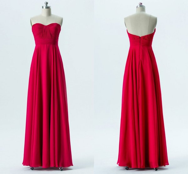 Sweetheart Pleated Chiffon Long Bridesmaid Dresses Aline Strapless Red Bridesmaid Gowns Floor Length Wedding Party Dresses