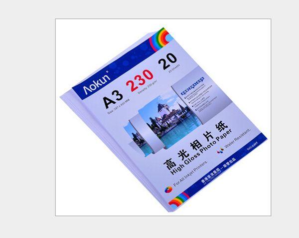 A3 (420 * 297mm) 230g 20 fogli Carta fotografica lucida Carta fotografica impermeabile Carta fotografica a getto d'inchiostro, per una varietà di stampanti a getto d'inchiostro