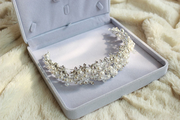 Dazzing Bling Bling Rhinestone Pearl Tiara Crown Bride Bridal Headband Wedding Hair Accessories Party Gift