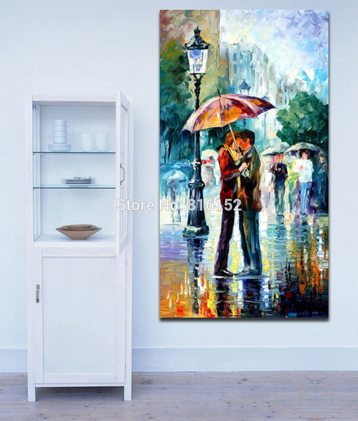 Roamtic Lovers Kiss Embrace-100% Hand-painted Lovers Canvas Painting Unframeless Wall Picture for Living Rroom Bedroom Office Art Paintings