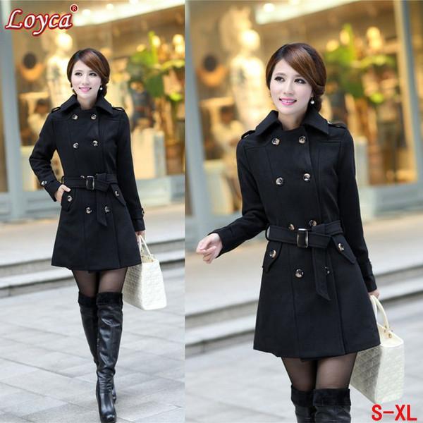 CBRL! Donna Plus Size Trench Coat Women 2014 Fashion Parka Female Winter Wool Miscele Capispalla Casual Lungo Trench K1026