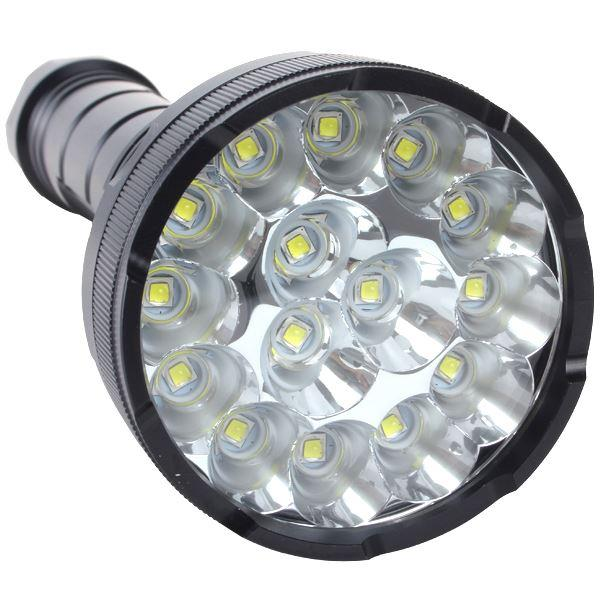 18000 Lumens 15 x CREE XM-L2 LED 5 Light Modes Waterproof Super Bright  Torch with 1200m Lighting Distance Wholesale Free Shipping