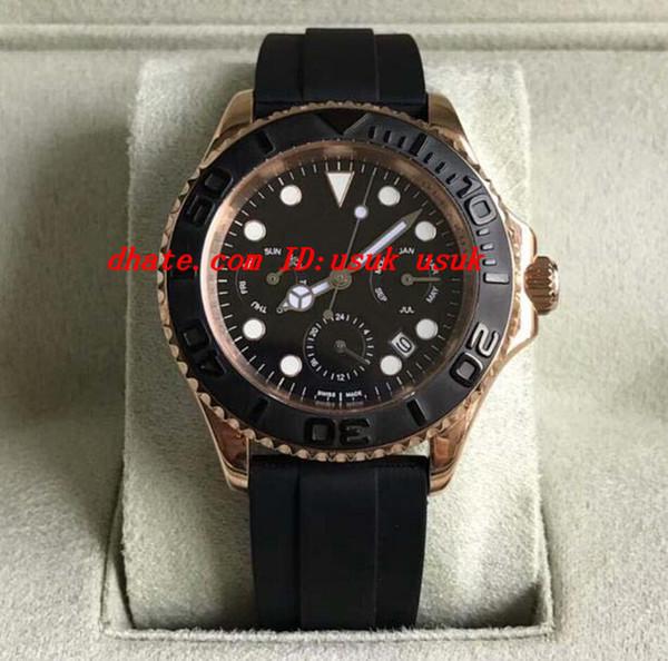 Роскошные часы высокое качество автоматический хронограф 9100 механизм 40 мм розовое золото мужчины полный стали дайвинг Спорт наручные часы