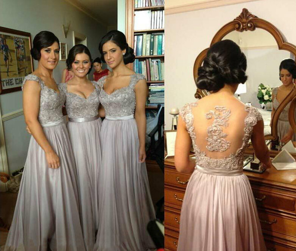 Hot Sexy Sheer V-Neck A-Line Cap Sleeve Chiffon Lace Beaded Coral Silver Lavender Purple Bridesmaid Dresses Cheap In Stock Evening Dresses