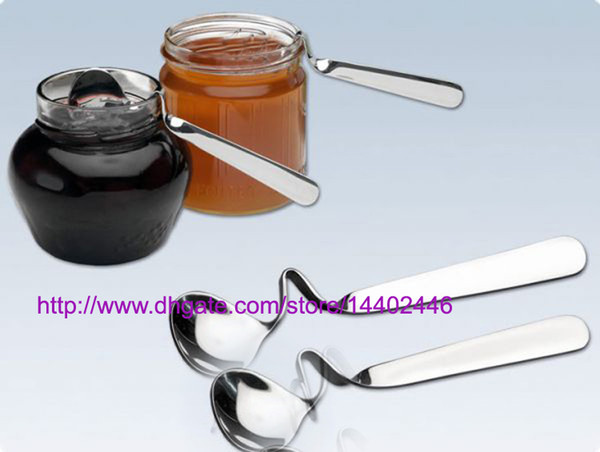 top popular 100pcs NEW Tea Coffee Honey Drink Adorable Stainless Steel Curved Twisted Handle Spoon U handled V Handle Jam Spoons 2021