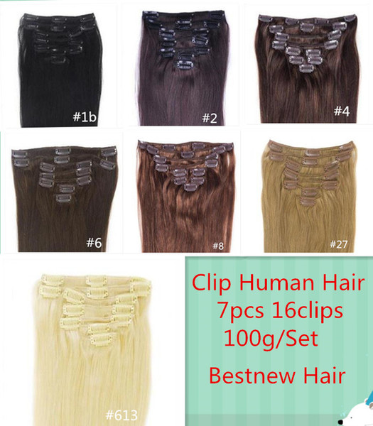"top popular 12""-24"" 7pcs Set 16 Clips 100G Black Brown Blonde Clip in Human Hair Extensions Brazilian REMY Clip in Hair Extension 2019"
