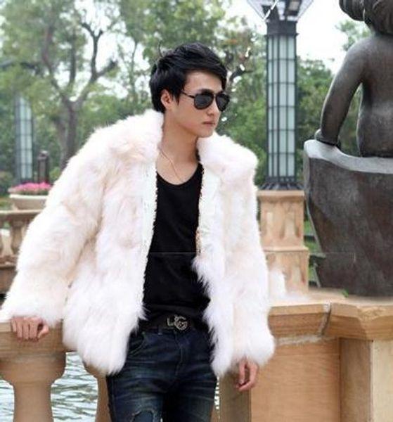 Fall-Fox Fur Male Clothing 2016 fur denim jacket men Casual High Street Turn Down Collar Boy's Warm Winter Coat Sexy Overcoat YY1011
