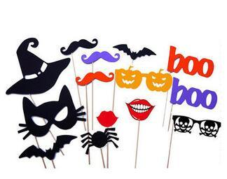 14pcs/set HALLOWEEN PHOTO BOOTH PROPS ON A STICK TRICK OR TREAT SCARY PHOTOGRAPHY