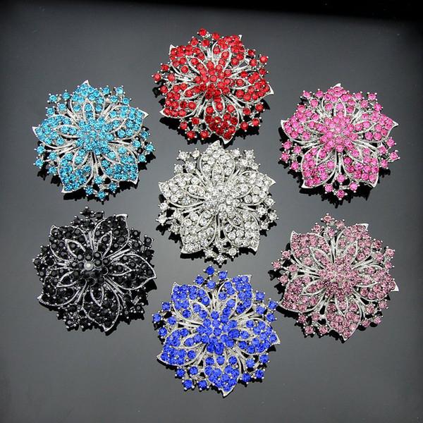 Korean jewelry luxury full diamond jewel brooch diamond crystal flower brooch Women Wedding Party Gift Free Shipping