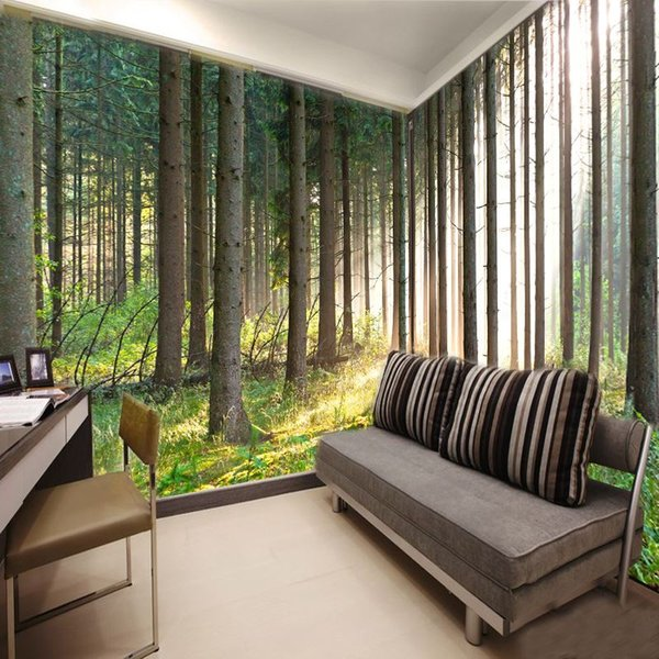 Wohnzimmer tapete grun  Großhandel Kostenloser Versand 3d Wallpaper Natur Wald Bäume ...