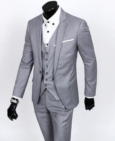 Smoking su misura slim smoking dello sposo grigio chiaro Best suit uomo notch bavero sposo groomsman Abiti da sposa sposo (giacca + pantaloni + cravatta + gilet)