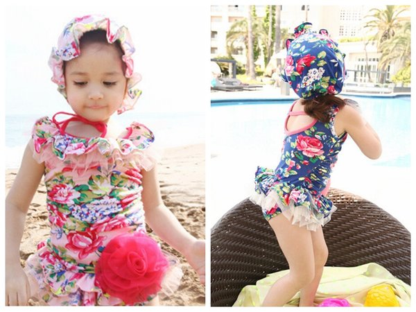 top popular 2015 korea style girls floral swimsuit girls swimsuits hats girl one pieces swimsuit girl swimming suit swimwear one piece tutu 2021