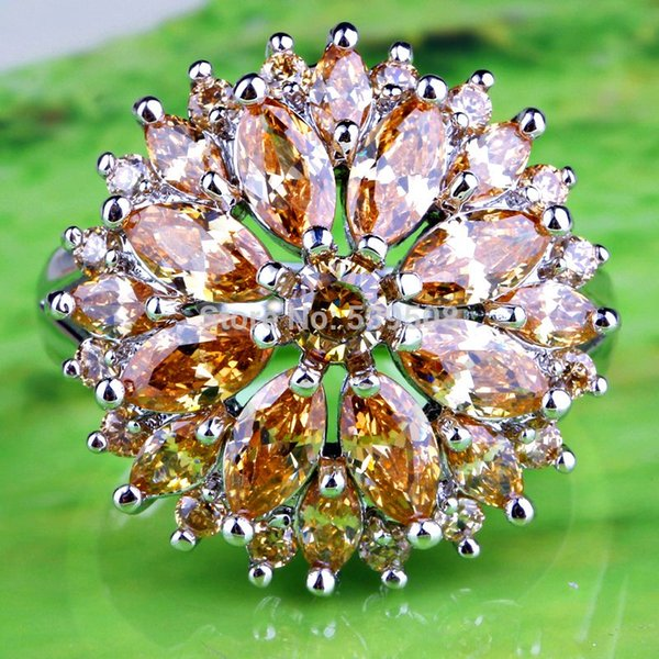 Wholesale Fashioned Beautiful Design Round Cut Morganite 925 Silver Jewelry Ring Size 7 8 9 10 11 12 13 Women Bridal Engagement