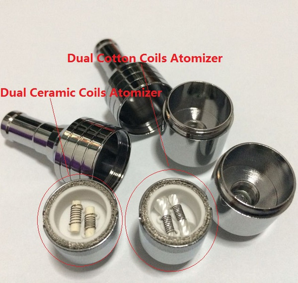 100pcs D-CORE double coils wax atomizer Ceramic Cotton rob wax vaporizer dual heating coils wax cartomizer e cigarette electronic Cigarette
