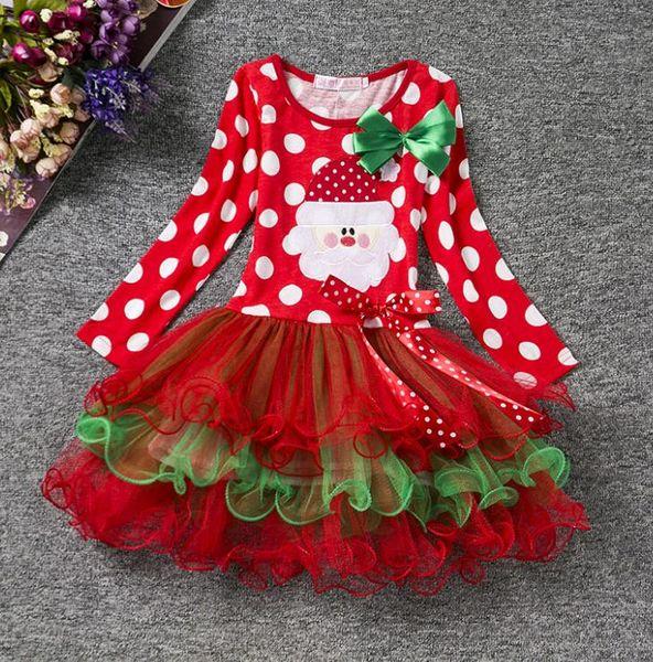 New arrival Autumn Winter Christmas Dresses Baby Girls Lace Tutu Santa Pattern Round Dot Design Dress For Kids