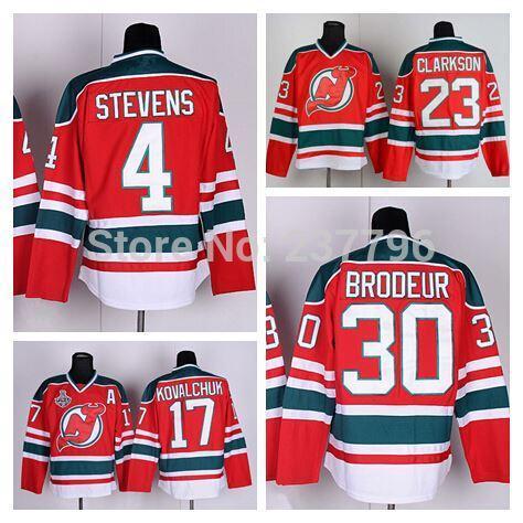 9 Taylor hall New Jersey Devils 30 Martin Brodeur 4 Scott Stevens 17 Ilya Kovalchuk David Clarkson Red Green Retro Vintage Hockey Jersey