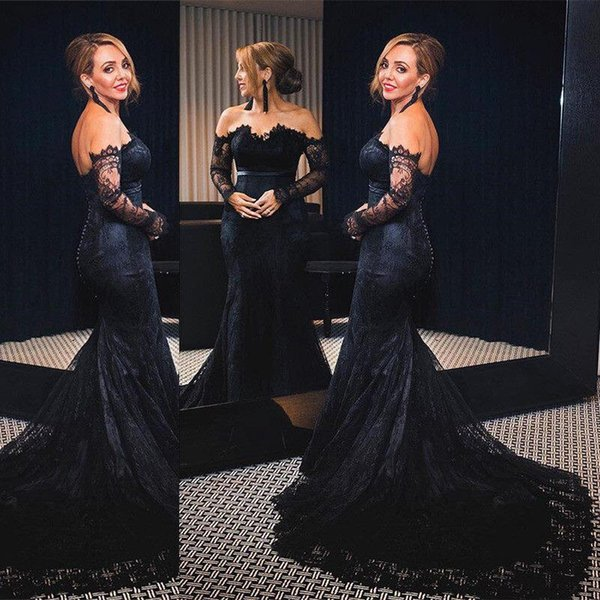 Nude Mesh Dark Navy Mermaid Evening Dresses 2018 Sheer Jewel Neck Long Sleeves Full Lace Prom Gowns Elegant Mother Dresses Fashion Wear
