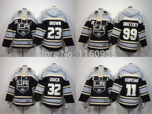 30 팀 - 도매 어린이 조나단 퀵 후드 티 - 11 Anze Kopitar 23 더스틴 브라운 99 Wayne Gretzky Youth Hoodies 하키 유니폼 무료 배송