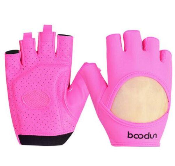 Female Gym Gloves Body Building Leather Fitness Fingerless Gloves Mitten Girls Women PU&Lycra Yoga Sport Breathable