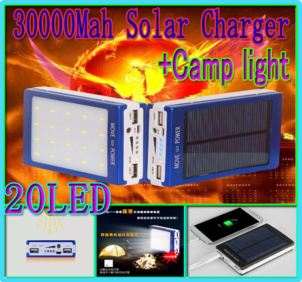 Portable 30000mah solar 20led camping light charger 20 led 30000 mah power bank camp lights Dual USB battery energy Panel chargers SOS help