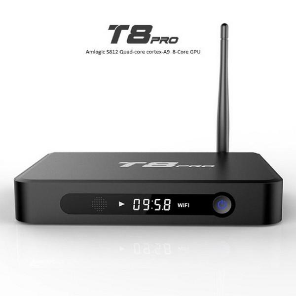 T8 Pro Quad Core Android 4.4 TV BOX S812 supporto smart media player quad core 2.4 / 5Ghz wifi Bluetooth 2GB / 8GB scatola per android tv