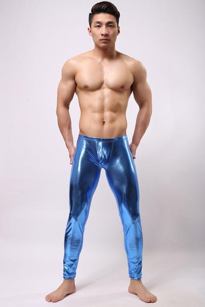 Männer Bronze Hosen Enge Passform Spaß Casual Hosen Marke Mode 2017 Polyester Leder Sexy Hosen Engen Pyjama Bottoms D568