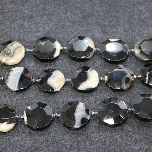 9pcs/1Strand Black Druzy Agate Gemstone Beads, Natural Slice Slab Drusy Druzy Agate Necklace Pendant Connector Jewelry Making Wholesale