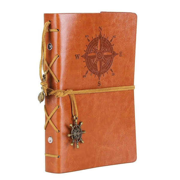 Vintage Refillable Journey Diary 7 Inches Classic Embossed Travel Journal Notebook with Blank Pages and Retro Pendants Brown