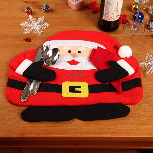 2015 christmas santa claus placemats mat place mat pads with napkin dinner dining table christmas supplies
