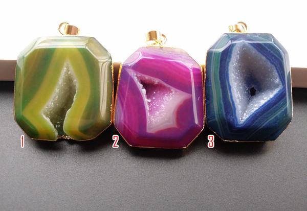 3PCS/lot Nature Druzy Geode Quartz, Crystal Drusy Gem Agate stone DIY Pendant,Charm Jewelry making SB37-39