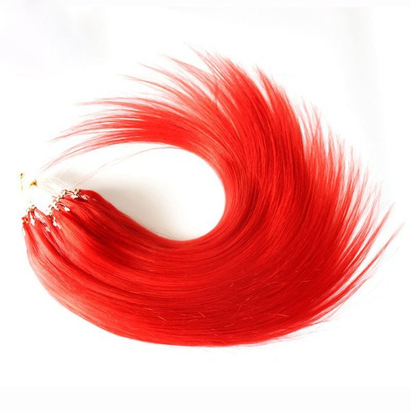 """Wholesale --5A 16""""- 24""""1g/s 100g/pack red# Brazilian Remy Human Loop Hair Micro Ring Hair Extensions dhl free shpping"""