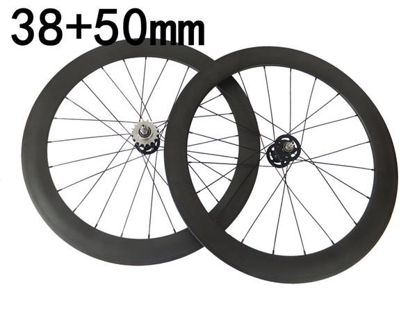 carbon fixed gear bike wheels fonrt 38mm rear 50mm single speed track bicycle wheels 3k matte glossy finish