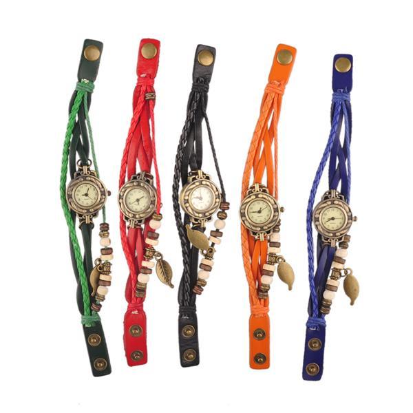 Kadın Deri Bağbozumu Izle Yaprak Kolye Bilezik Saatı 7 Renkler Retro Vintage Yaprak Kolye Örgü Wrap Kuvars İzle En İyi Hediye 1806011