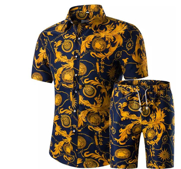 Men Shirts+Shorts Set New Summer Casual Printed Hawaiian Shirt Homme Short Male Printing Dress Suit Sets Plus Size