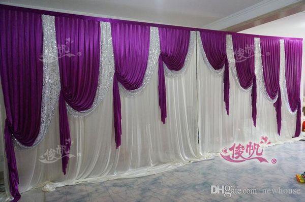 Hot Sale 10ft*20ft Purple Beatiful Sequins Swag White Wedding Backdrop Wedding Drape and Curtain Wedding decoration