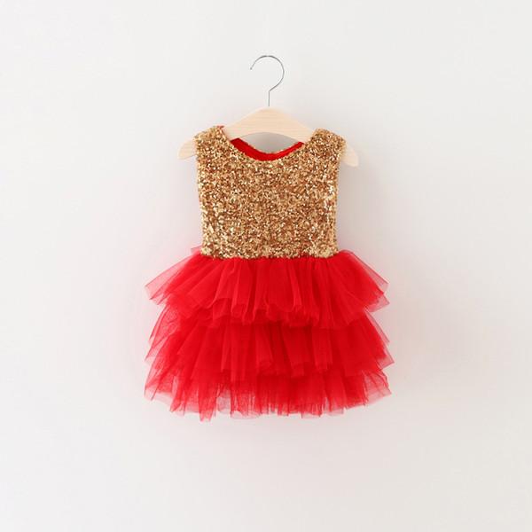 Mais novo Meninas Lantejoulas arco tutu vestidos 2016 Crianças meninas primavera verão lindo vestido de festa do bebê princesa tutu vestido 5 pçs / lote