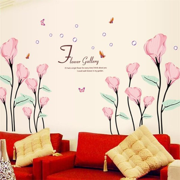 Flower Butterfly Wall Stickers Home Decor Removable 9211 DIY Beautiful Home  Decoration Red Flowers Wall Sticker