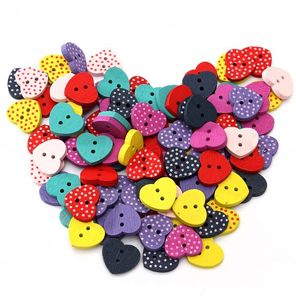 100pcs Mixed Multicolored love Heart Shaped Wooden Buttons Sewing Craft Scrapbooking 13mm x15mmDiy hand made free shipping