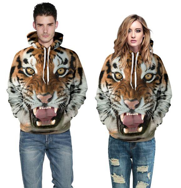 Wholesale new style ladies Hoodie sleeve tiger 3D digital printing and loose Sweater Hoodie Jacket for men and women