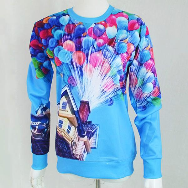 All'ingrosso-New fashion women clothes pullover ballon fly print film