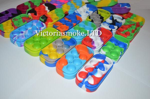 5 pcs 6 + 1 Recipiente de Silicone 6 + 1 Caixa de Recipiente de Cera de Silicone colorido grau alimentício reutilizável frasco de cera de silicone 13 cores diferentes Frete Grátis